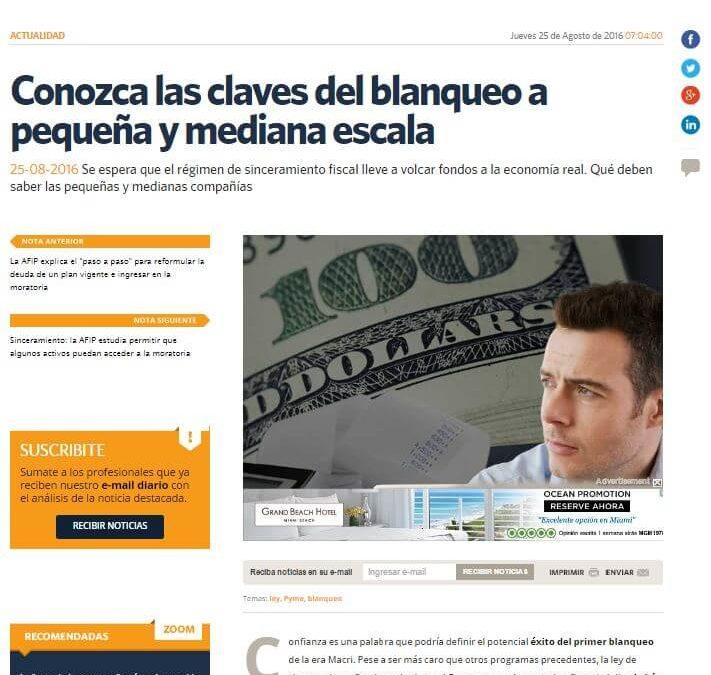 Iprofesional.com publicó una nota sobre sinceramiento fiscal y nos consultó