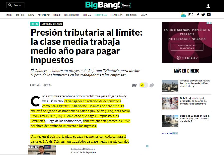 """El sitio Bigbang News nos realizó una entrevista sobre """"Presión tributaria"""""""